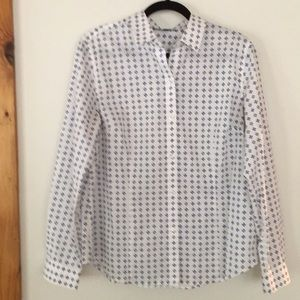 Jones New York White button down blouse with blue.